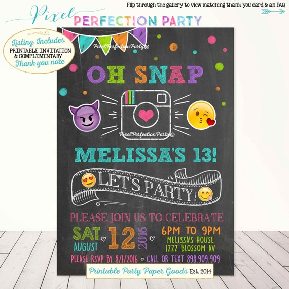 Emoji Birthday Invitation Instagram Birthday Invitation Glam