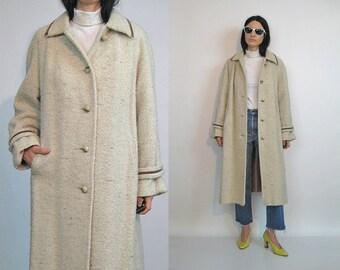 60s Boucle Wool Coat / Vintage 1960s Ecru Flecked Wool Coat / Flecked Wool Boucle Coat / Oatmeal Boucle Wool Coat