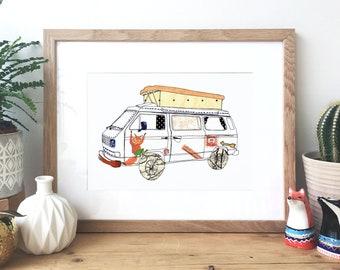 VW Camper Van - Ink and Collage Illustration