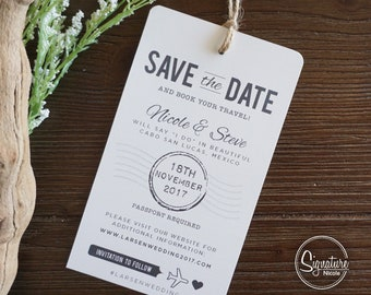 Save the Date Travel Wedding Invitation Luggage Tag Mexico Rustic Wedding Beach Wedding Announcement Destination Wedding Tropical Wedding