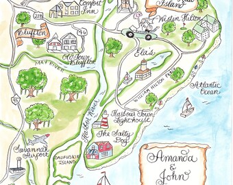 Custom Wedding Map - Watercolor Map- Hilton Head with Calligraphy Script