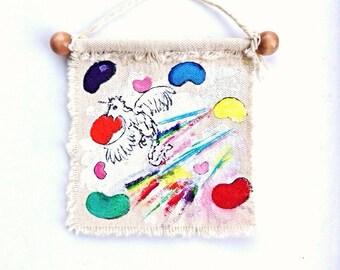 Original art scroll painting rainbow jelly bean pheonix