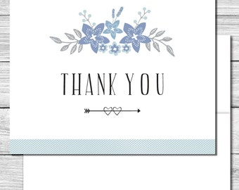 Thank you Notes--floral blue and silver