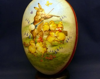 Vintage Rabbit with Baby Chicks Nestler Germany Paper Mache Lithograph Easter Egg Container, 1980s