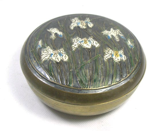 Vintage Indian Brass Trinket Box with Flowers