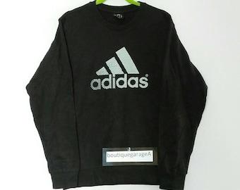 Rare!! Adidas sweatshirt big logo spellout pull over jumper sweater hip hop black colour medium size