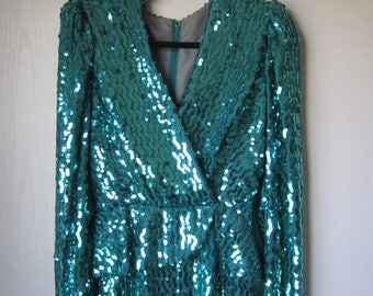 70s Lilli Diamond Green Sequin Long Formal Cocktail Dress Size Small-Medium