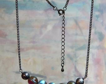Mystic Aura Quartz Necklace - handmade, colorful, gunmetal, jewelry