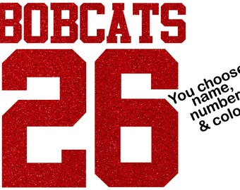Sport Team Mom Jersey Name Number Custom GLITTER You Choose Color Iron On Transfer Hotfix Bling