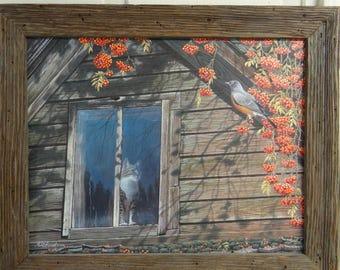 Original Cat and Robin Painting