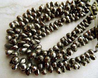 5-7 mm Exceptional Quality Natural Pyrite Briolette Faceted Drops 8x1/2 inch half Strand,20 pcs AAA+-Un-believable Price