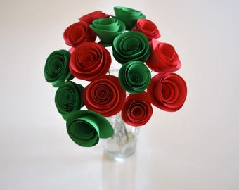 Christmas Table Decor- Christmas Table Centerpieces - Holiday Centerpiece - Red and Green Paper Flowers - Red and Green - Christmas Decor