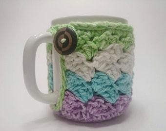 Striped, Variegated Crochet Coffee Mug Cozy - Cup Cozy - Stocking Stuffer
