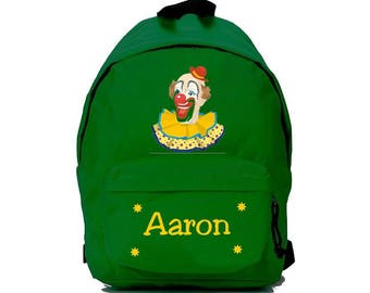 clown green backpack personalized with name