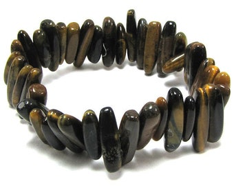 "25mm tiger eye stick stretch bracelet 8"" 30248"