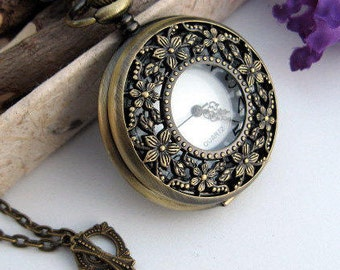 Bronze Cherry Blossom Watch Necklace - 1 3/4 inch Watch Case - Victorian Steampunk Era
