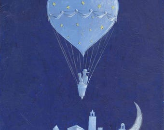 The hot air balloon in the Sky, illustration art, hot air balloon illustration, hot air balloon print, lovers, love in the hot air balloon
