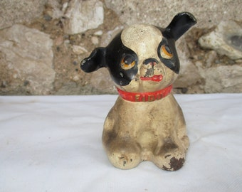 "Rare Vintage/Antique Cast Iron Hubley Puppy Dog (Boston) Fido Bank, Door Stop  5"" American.  Very Cute! Postal Charges in Euros Description"