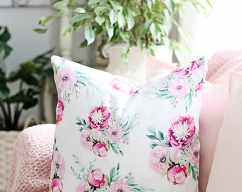 Pink watercolor peony  18x18 or 22x22 pillow, cottage decor, floral pillow, flowers, pastel pillow,flowers,shabby chic, spring