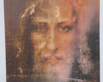Poster image pious hologram Jesus shroud of Turin 24 cm x 17 cm Holy Shroud