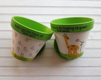 Teacher Gift - Painted Flower Pot - Gift from Students - End of Year Teacher Gift - Teacher Christmas Gift - Gift for Teacher