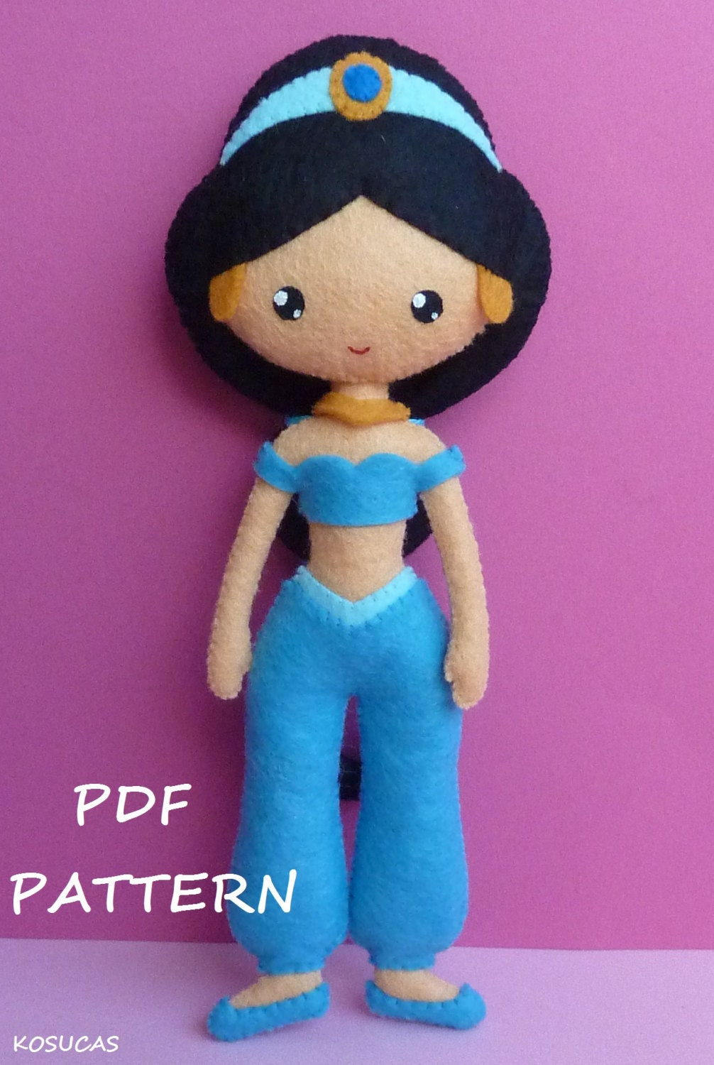 Pdf Sewing Pattern To Make Felt Doll Inspired In Jasmine  # Muebles Jasmine