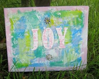 Mixed Media Canvas - JOY. Wall decor. Pink decor.