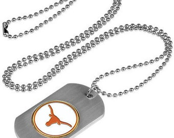 Texas Longhorns Stainless Steel Dog Tag Necklace