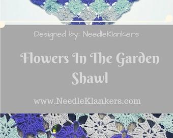 Flowers In The Garden Shawl crochet-PATTERN-