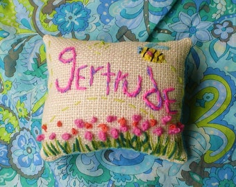 Custom Name Pillow Freehand Embroidered Crewel Mini Made To Order YelliKelli