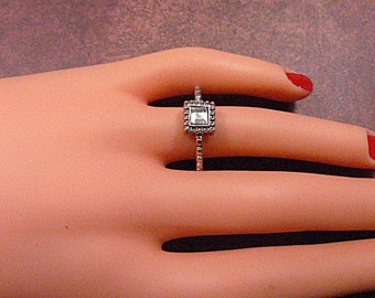Vintage Square Rhinestone Solitaire Ring -- Size 7.5 - R-706