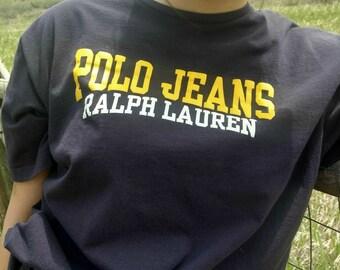 Ralph Lauren Polo Jeans T-shirt Tee Yellow Navy Blue Men's Size XL Women's Oversized T-shirt Night Shirt Vintage Unisex Streetwear