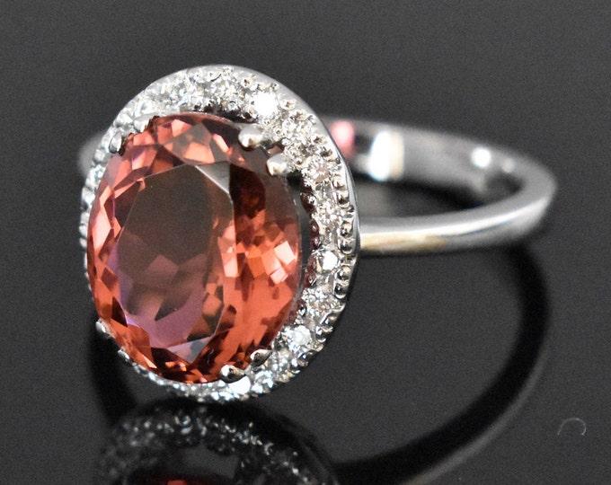 14K White Gold Pink Tourmaline and Diamond Ring | Engagement Ring | Wedding Ring | Statement Ring | Diamond Halo | Handmade Fine Jewelry