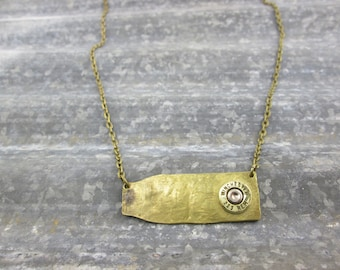 Bullet Necklace / Winchester 223 Caliber Hammered Casing Bullet Necklace WIN-223-B-HCBN / Hammered Necklace / Brass Necklace / Custom