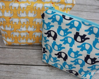 Yellow Elephants Make Up Bag - with Pockets! *NEW*