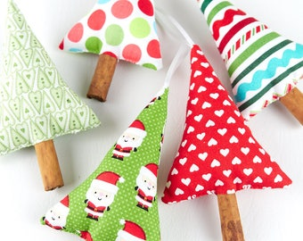 Set of Hanging Christmas Tree Decorations, Christmas in July, Fabric Christmas Ornaments, Natural Christmas Decor
