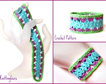 Crochet Bracelet Pattern PDF: Fast Easy Lace Cuff in Thread Crochet