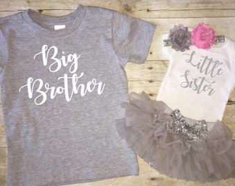 Sibling Shirt Set   Big Brother Little Sister Matching Shirts   Sisters   Coming Home Outfit   Baby Shower Gift