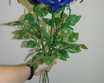 Blue Roses from Beads