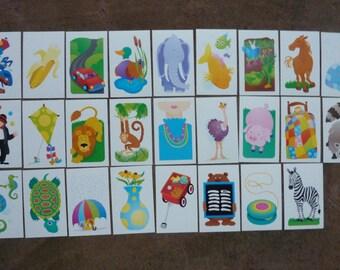 Vintage Flash Card Flashcards Picture ABC Alphabet Preschool Set Lot Frame