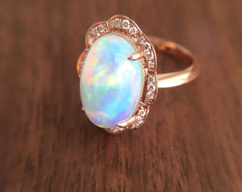 3.9 Carat Opal Engagement Ring Opal Ring White Gold Engagement Ring
