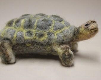 Needle felted Tortoise, felted animal, Miniature soft sculpture, Woodland