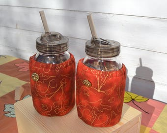 Mason Jar Cozies Quart Jar Insulated (set of two) Orange and gold