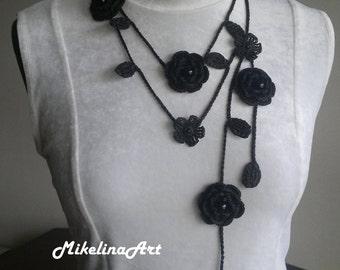 Crochet Rose Necklace,Crochet Neck Accessory, Flower Necklace, Black, 100% Cotton.