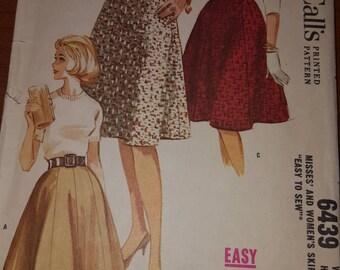 Vintage 1960s Full Skirt McCall's 6439