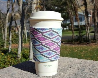 FREE SHIPPING UPGRADE with minimum -  Fabric coffee cozy / coffee cup holder / coffee sleeve -- Diamonds