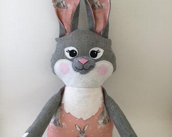 Stuffed Bunny: bunny rag doll, bunny stuffed animal, nursery decor