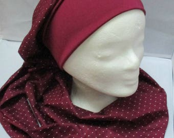 Preformed turban Sesame tie, wrap - Beanie - Hat - chemo band all in shades of Burgundy long Pan
