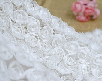 White Lace Gauze Lace Fabric Chiffon Rose Wedding Lace Fabric 55.12inch  Width 1 Yard H182