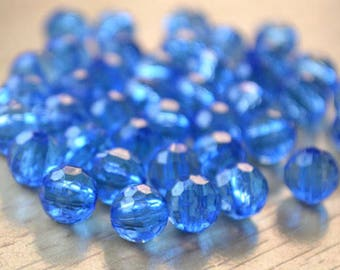 750pcs 6mm Bead Blue Acrylic Faceted Round Transparent Light